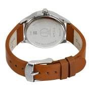 Titan White Dial Leather Watch For LAdies