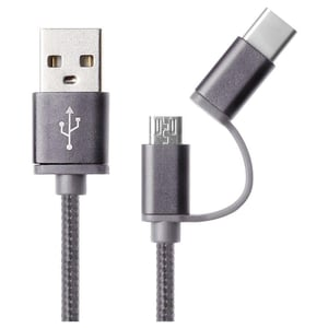 Smart 2in1 iConnect Guard Type-C/Micro USB 1M Black