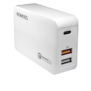 Romoss Dual Port USB With Type C Charger White