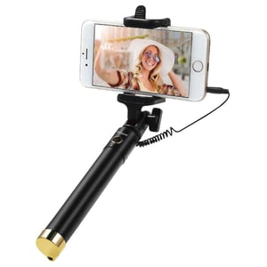 Eklasse Foldable Wired Control Selfie Stick Black/Gold