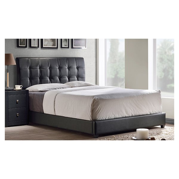 Lusso Tufted Black Faux Leather Queen Bed without Mattress Black