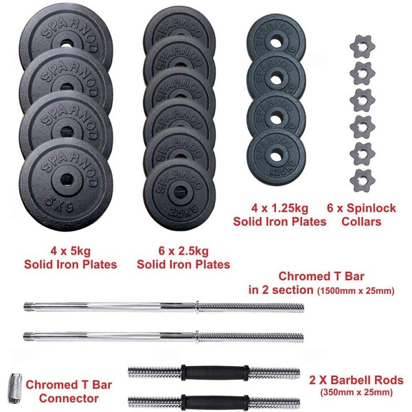 Sparnod Fitness Adjustable Dumbbell & Barbell Weight Set for Home Equipment Exercise and Fitness- Dumbbells with Anti-slip Grip, Barbell rod & Carry Case