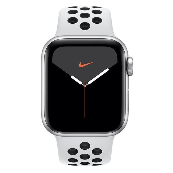 Apple Series 5 GPS + Cellular 44mm Silver Aluminum Case with Nike Sport Band - Pure Platinum/Black